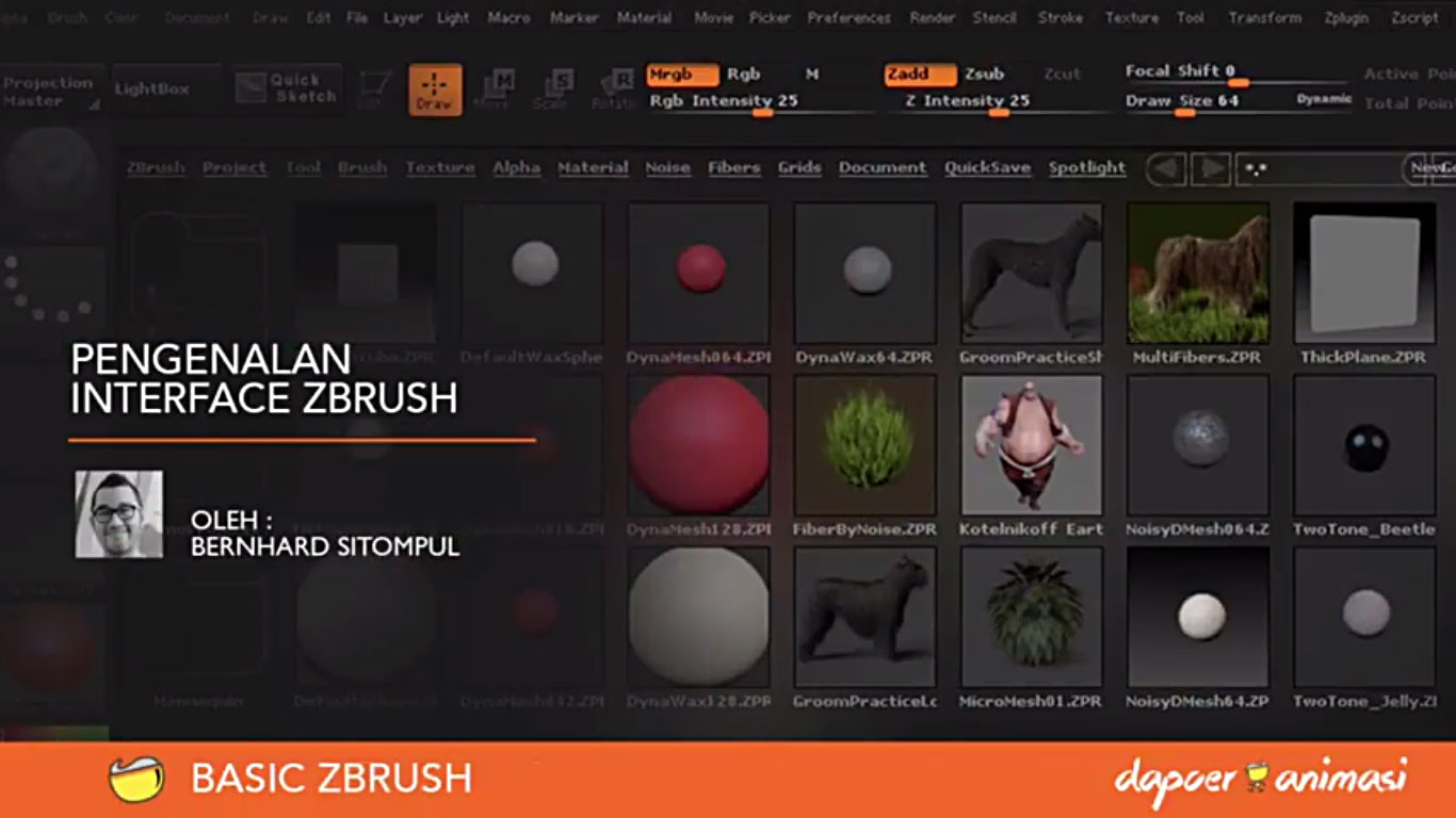 Dapoer Animasi – BASIC ZBRUSH : Pengenalan Interface Zbrush