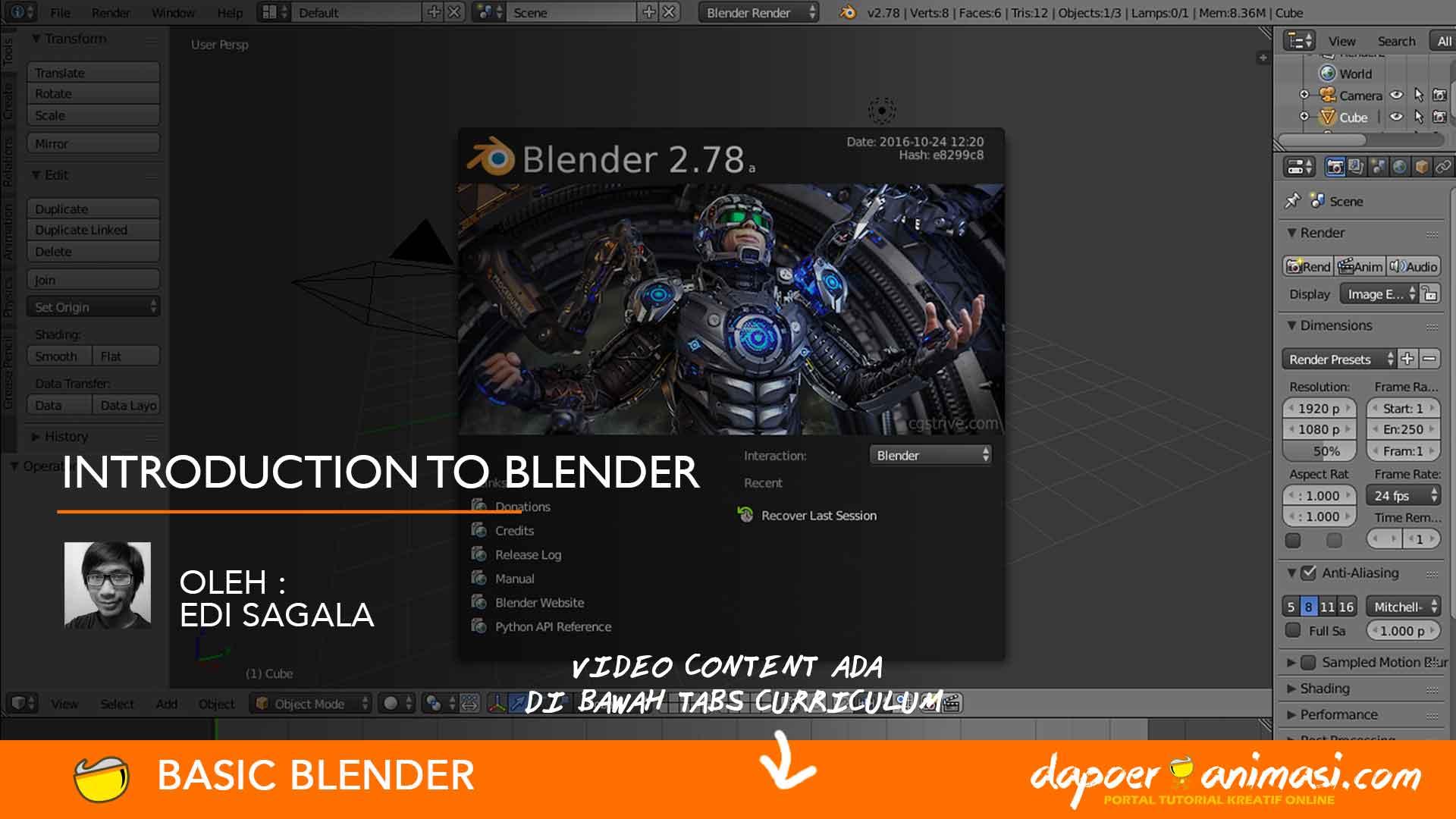 Dapoer Animasi : Introduction to Blender